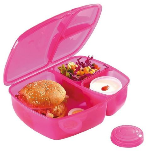 Packed Lunch Salad & Ready Meal Box with Compartments & Pot (Pink)